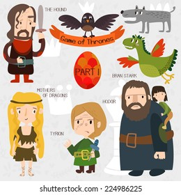 Cartoon Game of Thrones in vector. Funny cute characters. Part I