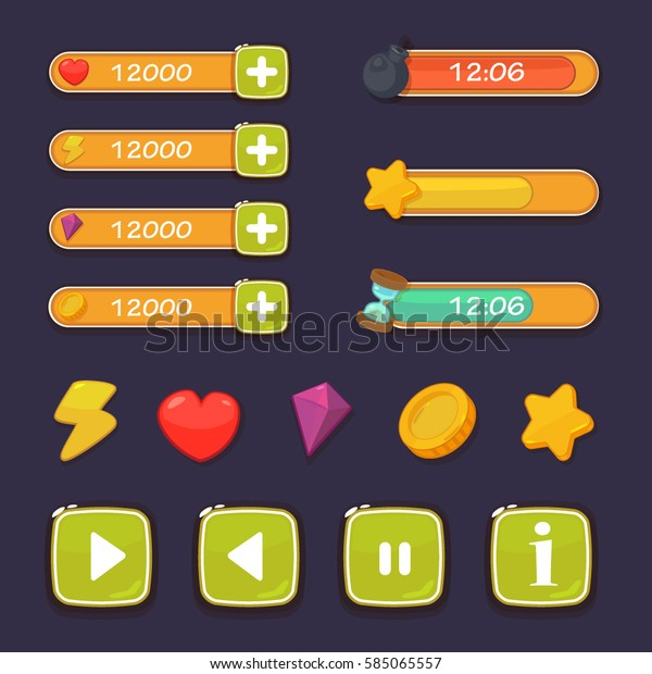 Cartoon Game Ui Design Vector Assets Stock Vector (Royalty