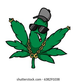 Cartoon Gangster Cannabis Leaf Vector Illustration
