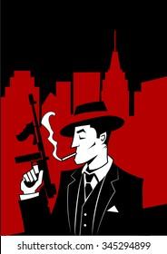 Cartoon Gangster - Comic art - Vector illustration