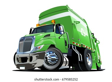 Cartoon Garbage Truck isolated on white background. Available EPS-10 vector format separated by groups and layers for easy edit