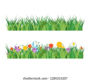 Cartoon Garden Flowers and Green Grass Line Set Concept Flat Design Style Include of Plant and Leaf. Vector illustration