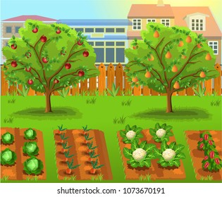 cartoon garden with vegetables and fruit trees