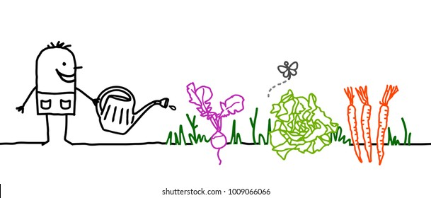 Cartoon Gardener Watering Vegetables