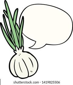 cartoon garlic bulb with speech bubble