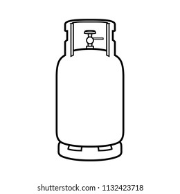 Cartoon Gas Cylinder Black Line White Background