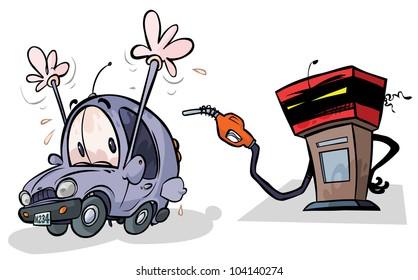 Cartoon Gas Pump and Car.
