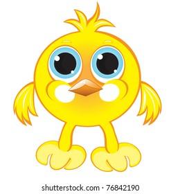 Cartoon gay yellow chicken. Illustration on white background