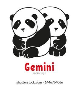 Cartoon Gemini Zodiac Sign. Vector