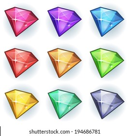 Cartoon Gems And Diamonds Icons Set/ Illustration of a set of glossy and bright cartoon gems stones, diamonds, minerals and jewels icons, for game user interface