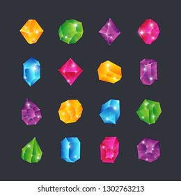 Cartoon gems. Gem stones jewels diamonds topaz stone emerald ruby sapphire glance clear glass brilliant isolated ui award vector icons