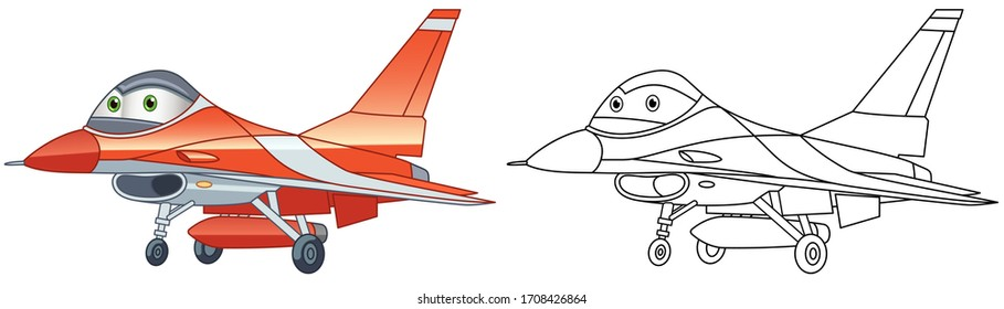 Cartoon general dynamics F-16 fighting falcon. Coloring page and colorful clipart character. Cute design for t shirt print, icon, logo, label, patch or sticker. Vector illustration.