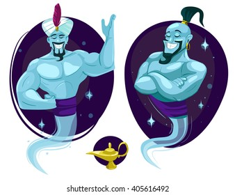 Cartoon genie. Vector illustration. Isolated