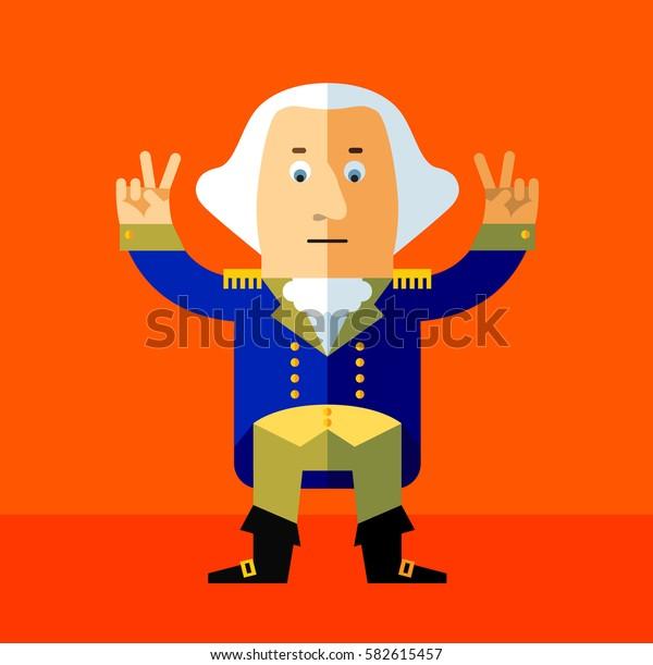 Cartoon George Washington gesturing victory. Flat style vector illustration . Presidents Day Celebration