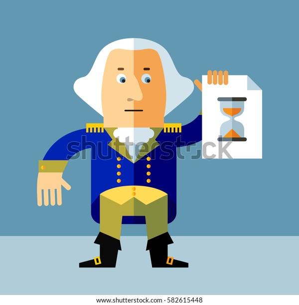 Cartoon George Washington with preloader icon. Flat style vector illustration . Presidents Day Celebration