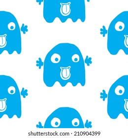 cartoon ghost seamless pattern