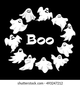 Cartoon  ghosts wreath . Spooky and scary holiday monster design . Costume silhouette ghost  creepy, funny and cute spooky night symbol. Retro style vector illustration