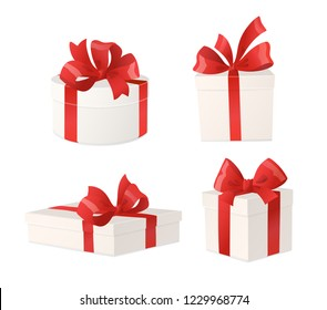 Cartoon gift boxes with red bows isolated on white background. Holiday presents, vector illustration. Great for Christmas and birthday cards, shopping sale banners, gift vouchers and certificates.