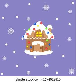 Cartoon gingerbread house isolated on blue