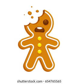 Cartoon gingerbread man with bite missing. Funny Christmas cookie vector illustration.