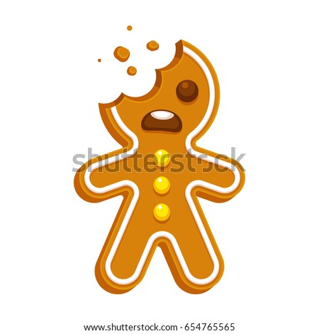Cartoon Gingerbread Man Bite Missing Funny Stock ...