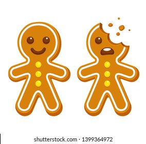 Cartoon gingerbread man whole and with head bite. Funny Christmas cookie vector illustration.