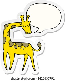 cartoon giraffe with speech bubble sticker
