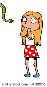 Cartoon girl afraid of snakes, vector illustration