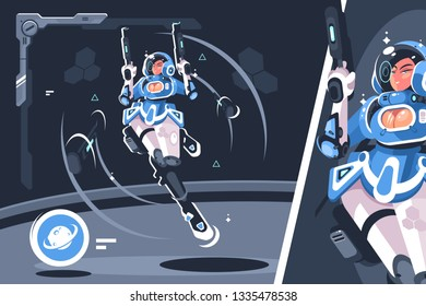 Cartoon girl with blaster gun vector illustration. Young woman wearing space suit holding laser weapon in hands flat style concept. Spaceship and cosmos interior
