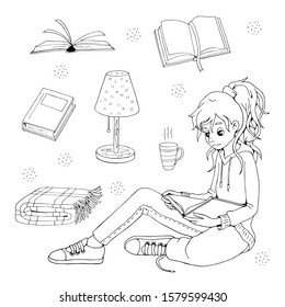 Cartoon girl with book, cup of tea, reading-lamp and plaid. Vector set of different books. Isolated objects on white background. White and black illustration for coloring book.