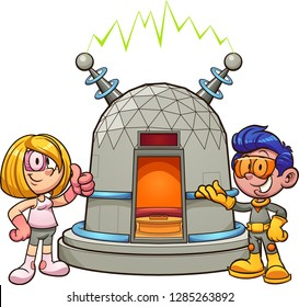 Cartoon girl and boy with time machine.  Vector clip art illustration with simple gradients. Some elements on separate layers.