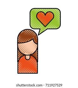 cartoon girl with bubble speech love hear message