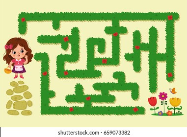 Cartoon girl character in the maze. (Maze game for kids, Vector illustration)