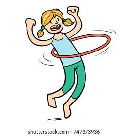Cartoon of girl doing the hula hoop