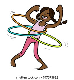 Cartoon of girl doing three hula hoops at once.