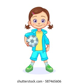 Cartoon girl football player junior sportsman stands with the ball for the European football in her hands. Isolated vector child character.