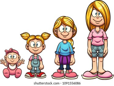 Cartoon girl growing up from baby to teenager. Vector clip art illustration with simple gradients. Each on a separate layer.