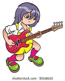 Cartoon girl with guitar. Vector illustration.