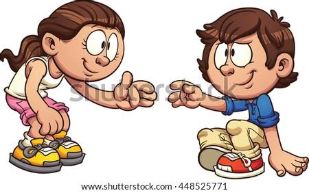 Cartoon Girl Helping Boy Get U...