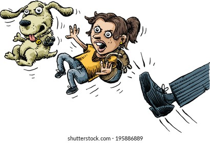 A cartoon girl and her dog are angry as they are kicked out.