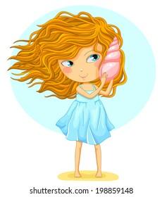 cartoon girl holding a seashell next to her ear