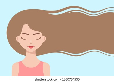 Cartoon girl with long flowing hair, dreaming with eyes closed about hair care or trendy hairstyle. Healthy hair concept. Design for beauty or hairdressing salons and fashion industry, copy space