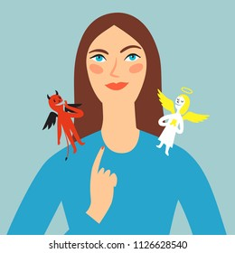 Cartoon girl making choice. Angel and devil on her shoulders. Concept illustrations for your design.