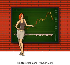 Cartoon girl on Business chart display, uptrend line graph, Woman bar chart stock numbers in bull market with arrow up and down. Evaluation investment risks banner. Girl financial markets background