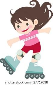 Cartoon Girl on Inline Skates