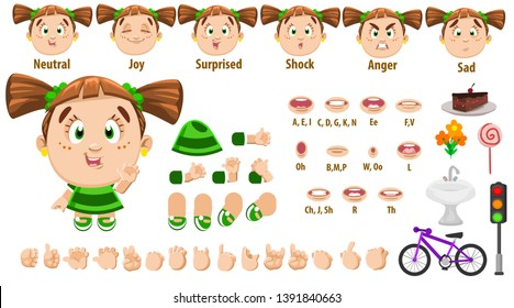 Cartoon girl with pigtails constructor for animation. Parts of body: legs, arms, face emotions, hands gestures, lips sync. Full length, front, three quater view. Set of ready to use poses, objects.