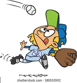 cartoon girl playing baseball