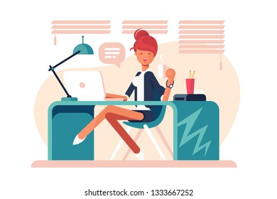 Cartoon girl sitting at workplace vector illustration. Smiling girl drinking coffee and working with laptop in bureau flat style concept. Office interior