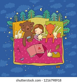 Cartoon girl sleeping in bed. Baby and toys. animals of the forest. Children's tale. Time to sleep. Good night