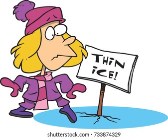 cartoon girl stepping onto thin ice
